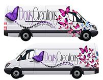 Free White Long Cargo Van Mockup PSD Template