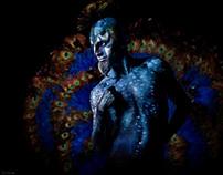 Peacock body art by Lora Tulchincki