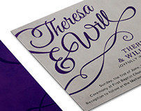 Wedding invitation and reply card
