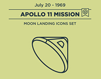Apollo 11 Moon Landing Icon Set
