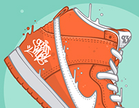Nike SB Dunk High Pro Orange x Guess who!