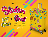 Bright Retro Style Stickers