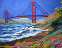 Watercolor Plein Air Painting Baker Beach