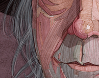 Neil Young illustration portrait for Georgie Magazine