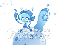 Happy cartoon spaceman in small planet with rocket