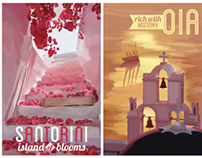 Vintage-style Illustrated Travel Posters