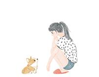 2016 Book illustration- 長腿女孩與短腿毛孩