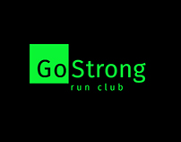 "Logo for run club "" Go strong"""