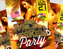 Memorial Day Weekend Flyer Template PSD