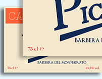 Wine labels for Barbera
