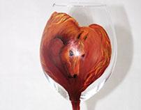 Custom Hand Painted Pet Portrait on Wine Glass