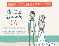Illustrated Beach Wedding Invitation
