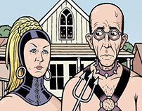 """American Gothic"" illo for DALLAS OBSERVER"