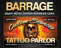 Barrage Metal Theme Business  Cards.