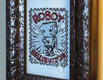 Robot Bellybutton linocut print