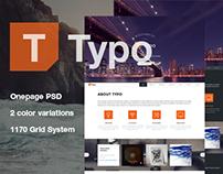 Typo - Singlepage PSD Template