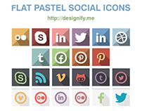 Freebie: Flat Pastel Social Icons – 22 Colour Sets