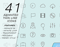 41 Thin Line Animated Icons