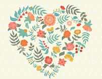 Vector cute flower set.