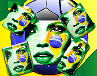 Brazil Flag Girl Portrait