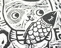 Lino print - Kitty for you & me