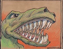 Trex! and AtAt! - Oil Pastel on honeycomb cardboard
