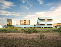 Architectural rendering of a hospital in Panama