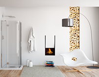 A bathroom with a fireplace!