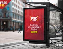 Bus Shelter Advertising Board Mockup PSD