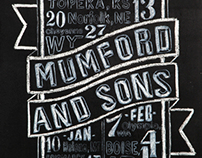 Tour poster designs for Mumford & Sons