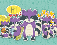 Raccoon and Zombie Stickers for Hoverchat App