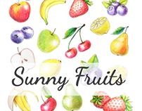 Original fruits drawn by color pencils