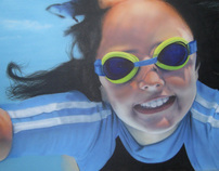 Air Brush Painting - Girl Swimming