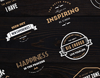 18 Vintage Badges / Insignias / Logos - Quotes