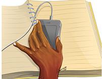 Left Human hand holding a gadget