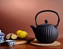 Chrysanthemum, lemon and ginger tea set