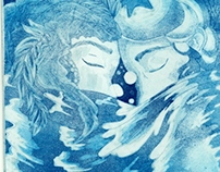 """Lovers in the Sea"" Etching"