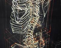 Skeleton, black background