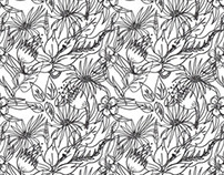 Monochromatic Floral - Print Development