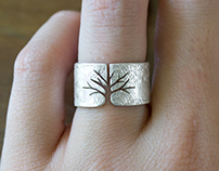 Textured Silver Tree Ring