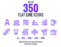 Big collection of Set flat gradient line icons