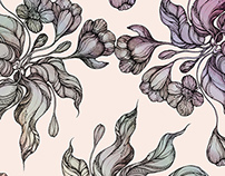 Vintage seamless pattern.Handdrawn coloring crocus