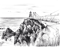 iPad sketch - Point Bonita lighthouse