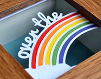 Over the rainbow miniature paper cut