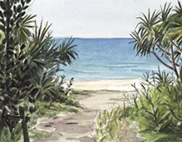 Watercolor Sketches in Okinawa by Olivier