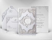White Laser Cut Lace Wedding Invitation