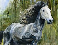Running Andalusian Horse