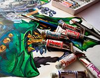 Ilustración con acuarelas y tinta china