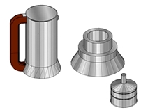 Reproduction 3D de la cafetière 9090