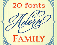 Adorn - a collection of 20 distinct yet related fonts